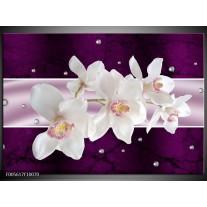 Foto canvas schilderij Orchidee | Wit, Paars