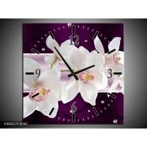 Wandklok op Canvas Orchidee | Kleur: Wit, Paars | F005617C