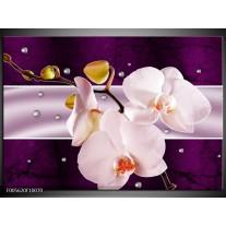 Foto canvas schilderij Orchidee | Paars, Wit, Grijs