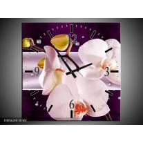 Wandklok op Canvas Orchidee | Kleur: Paars, Wit, Grijs | F005620C