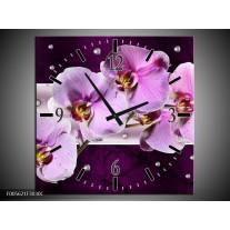 Wandklok op Canvas Orchidee | Kleur: Paars, Wit | F005621C