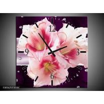 Wandklok op Canvas Tuin | Kleur: Paars, Roze, Wit | F005625C