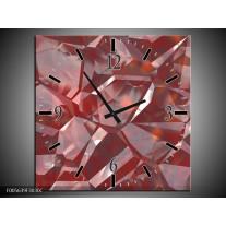 Wandklok op Canvas Art | Kleur: Rood, Grijs, Wit | F005639C