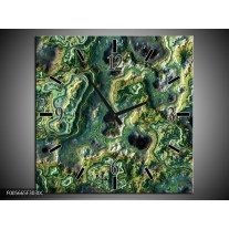 Wandklok op Canvas Art | Kleur: Groen, Geel, Zwart | F005665C