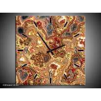 Wandklok op Canvas Art | Kleur: Rood, Bruin, Geel | F005666C