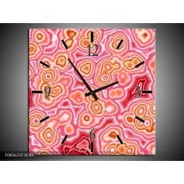 Wandklok op Canvas Art | Kleur: Roze, Wit, Oranje | F005672C