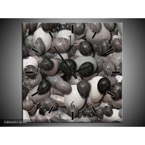 Wandklok op Canvas Stenen   Kleur: Zwart, Grijs, Wit   F005691C