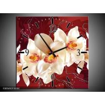 Wandklok op Canvas Orchidee | Kleur: Rood, Wit, Creme | F005692C