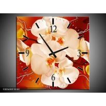 Wandklok op Canvas Orchidee   Kleur: Rood, Oranje, Creme   F005694C