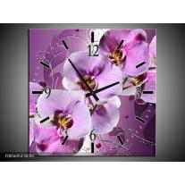 Wandklok op Canvas Orchidee | Kleur: Paars | F005695C