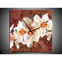 Wandklok op Canvas Orchidee | Kleur: Bruin, Creme | F005696C