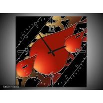 Wandklok op Canvas Art | Kleur: Rood, Zwart | F005697C
