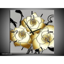 Wandklok op Canvas Roos | Kleur: Grijs, Creme, Zwart | F005698C