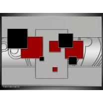 Foto canvas schilderij Vierkant   Grijs, Rood, Zwart