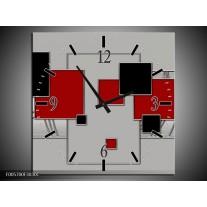 Wandklok op Canvas Vierkant   Kleur: Grijs, Rood, Zwart   F005700C