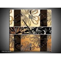 Wandklok op Canvas Art | Kleur: Geel, Creme Bruin | F005701C
