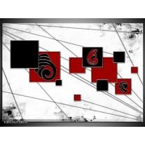 Foto canvas schilderij Vierkant | Zwart, Rood, Wit