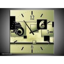 Wandklok op Canvas Vierkant | Kleur: Zwart, Groen | F005703C