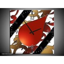 Wandklok op Canvas Art | Kleur: Rood, Bruin, Wit | F005705C