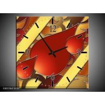 Wandklok op Canvas Art | Kleur: Bruin, Goud, Rood | F005706C