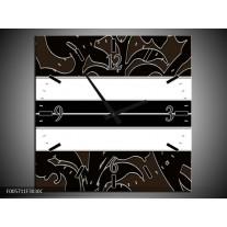 Wandklok op Canvas Art | Kleur: Zwart, Wit | F005711C