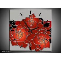 Wandklok op Canvas Roos   Kleur: Rood, Grijs, Zwart   F005712C