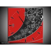 Wandklok op Canvas Art | Kleur: Rood, Zwart | F005714C