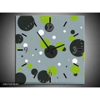 Wandklok op Canvas Cirkel | Kleur: Grijs, Zwart, Groen | F005716C