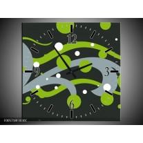 Wandklok op Canvas Art | Kleur: Groen, Grijs | F005718C
