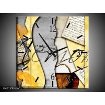 Wandklok op Canvas Art | Kleur: Bruin, Geel | F005720C