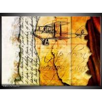 Foto canvas schilderij Vliegtuig | Geel, Zwart