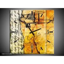 Wandklok op Canvas Vliegtuig   Kleur: Geel, Zwart   F005725C