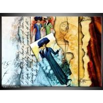 Foto canvas schilderij Vrouw | Blauw, Creme