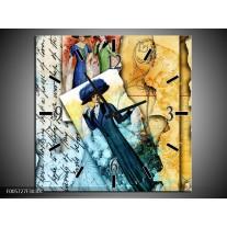 Wandklok op Canvas Vrouw | Kleur: Blauw, Creme | F005727C