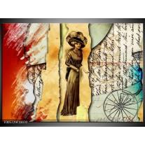 Foto canvas schilderij Vrouw | Bruin, Rood