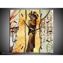 Wandklok op Canvas Vrouw | Kleur: Bruin, Rood | F005729C