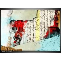 Foto canvas schilderij Art   Rood, Creme
