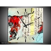 Wandklok op Canvas Art   Kleur: Rood, Creme   F005730C