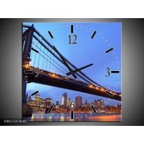 Wandklok op Canvas New York | Kleur: Blauw | F005732C