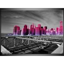 Foto canvas schilderij New York   Paars, Grijs, Zwart