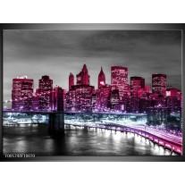 Foto canvas schilderij New York   Paars, Zwart