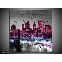 Wandklok op Canvas New York   Kleur: Paars, Zwart   F005744C