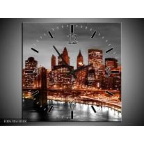 Wandklok op Canvas New York   Kleur: Bruin, Zwart   F005745C