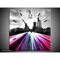 Wandklok op Canvas Weg | Kleur: Paars, Roze, Zwart | F005746C