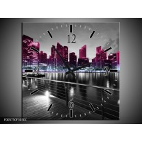Wandklok op Canvas Wolkenkrabber | Kleur: Paars, Zwart | F005750C