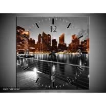 Wandklok op Canvas Wolkenkrabber | Kleur: Bruin, Zwart | F005751C