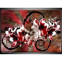 Foto canvas schilderij Orchidee | Rood, Wit,