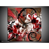 Wandklok op Canvas Orchidee | Kleur: Rood, Wit, | F005752C