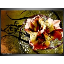 Foto canvas schilderij Lelie | Bruin, Groen