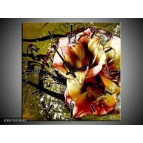 Wandklok op Canvas Lelie | Kleur: Bruin, Groen | F005753C